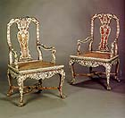 Padouk wood armchairs, ca. 1765, at Mallet