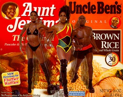 A collage image of Aunt Jemima and Uncle Ben's food products with images of real people superimposed.