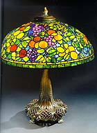 'Fruit' leaded glass and bronze table lamp
