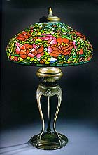 'Elaborate peony' leaded glass and bronze table lamp
