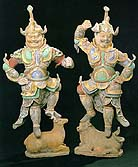 "A pair of painted earthenware ""Lokopala,"" Tang dynasty, early 8th century"
