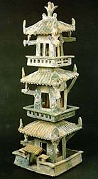 A green-glazed earthenware tower, Eastern Han dynasty, 1st-2nd century