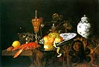 "Claes Bergoijs, ""Still Life with Lobster, Fruit, China Bowl and Jar,"" 1665, at Trafalgar Galleries, London"
