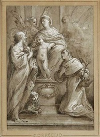 saint dominique et saint jérôme adorant la vierge à l'enfant by avanzino nucci