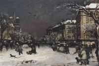 a parisian street in winter, nôtre dame beyond by antal jancsek