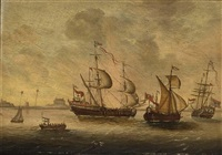 english ships near the coast (+ dutch ships near the coast; pair) by p. van der swalm