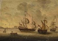 english ships near the coast (+ dutch ships near the coast; pair) by p. van der swalm