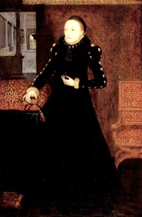 portrait of a lady (katherine, duchess of suffolk?) holding a locket in her right hand, a cloth of honour behind by hans eworth