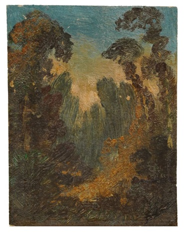 abendliche waldlandschaft by carl blechen