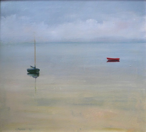 untitled bay with dory and sailboat by anne packard