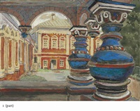 tsarina's cloister, the savvino-storozhevsky monastery, zvenigorod; forest in the moonlight; balustrade; interior with tea set (4 works) by maria vasilevna jakunchikova