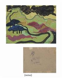 untitled (landscape); study of a figure (recto-verso) by vasudeo s. gaitonde