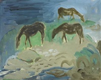 horses grazing on aran by elizabeth rivers