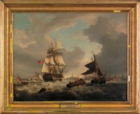coastal scene depicting the h. m. s. victory entering portsmouth harbor by george webster