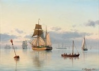 calm sea with numerous sailing ships by carl emil baagöe