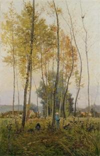 jeune femme dans le sous bois by maurice dainville