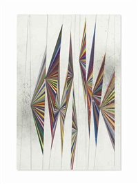 untitled (colored butterfly white background 10 wings 527) by mark grotjahn