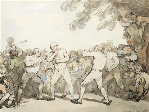 a boxing match with a large crowd gathered by thomas rowlandson