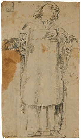 a study of a priest sketch verso by alessandro tiarini