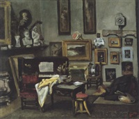 intérieur de l'atelier de l'artiste by edouard agneessens