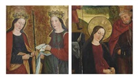 the virgin and saint joseph (recto) and two female saints-a fragment (verso) (2 works) by german school-cologne (16)