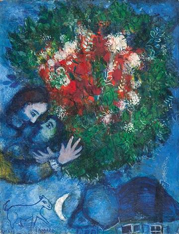 bouquet dans la nuit bleue by marc chagall