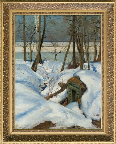 winter landscape with river by stepan feodorovich kolesnikov