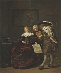 the contract: a lady presenting a letter to a gentleman by jacob duck