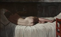 a young nude female on a bed by helge helme