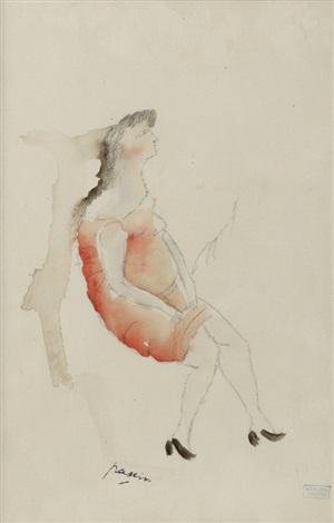 femme de profil a la robe rouge by jules pascin