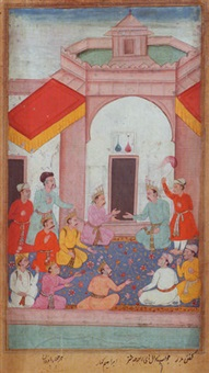 the king yudhishthira with pandavas and ministers seated in discussion by ibrahim kahar