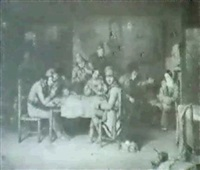 after cornelius krieghoff french canadian habitants     playing at cards. by andreas borum