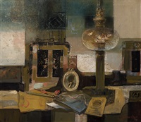 still life with oil lamp, photo frame and writing utensils by wim van aken