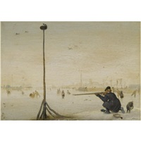 winter landscape with a hunter shooting duck at the edge of a frozen waterway by hendrick avercamp