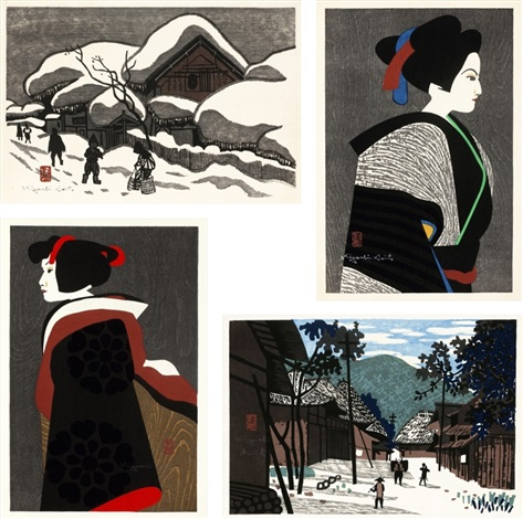 winter in aizu bunraku bunraku landscape set of 4 by kiyoshi saito