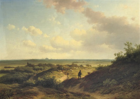 in the sunlit dunes haarlem beyond by willem vester