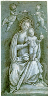 the madonna and child crowned by two angels by bernardino lanino