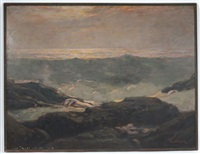 rocky shoreline with crashing waves by paul dougherty