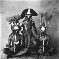 3 new guinea men, (2 with pipes) by irving penn