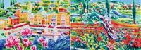 che bella è portofino e luce, sole alto e colori intorno ad un olivo (2 works) by athos faccincani