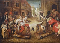 scène de carnaval dans un village by pieter brueghel the younger