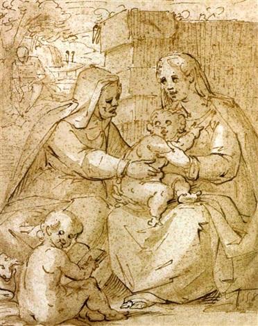 la vierge et lenfant avec sainte anne et saint jean baptiste by giovanni battista paggi