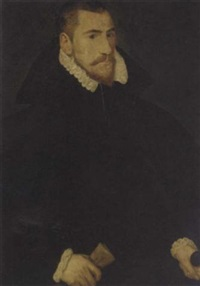 portrait of a gentleman in a black cape and a ruff, holding a scroll and dagger by george gower