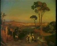 italienskt landskab med kvinder ved             brond, udsigt mod rom by gustave adolph amberger
