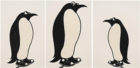 ladies and gentleman....(art awards penguins)(in 3 parts) by rob pruitt