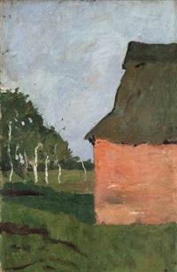 rotes haus. verso: landschaft mit birkenstämmen am moorgraben by paula modersohn-becker
