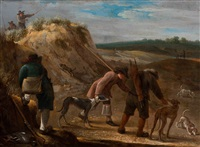 hunters with dogs in a landscape by flemish school (17)