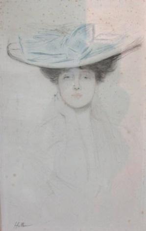 femme au chapeau et au noeud bleu by paul césar helleu
