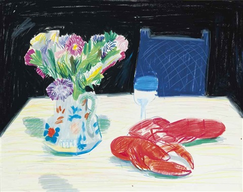 still life with flowers and lobster at odins restaurant by david hockney