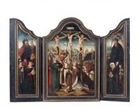 le golgotha entre les donateurs présentés par saint jacques et un saint protecteur (+ l'annonciation, verso; triptych) by bernaert (barend) van orley